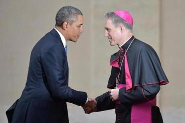 President Obama was welcomed to the Vatican on Thursday by the prefect of the papal household, Georg Gaenswein.